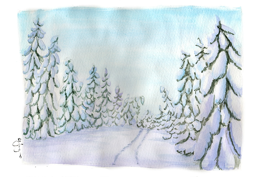 watercolor winter trees